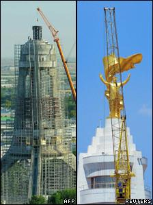 Left, the arch being dismantled on 26 August and right, removal work begins on 20 July