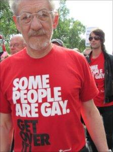 Sir Ian McKellen at the protest