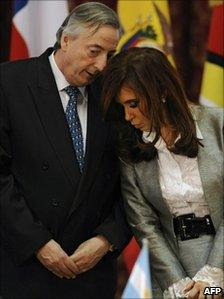 Nestor Kirchner with his wife, President Cristina Fernandez on 1 October
