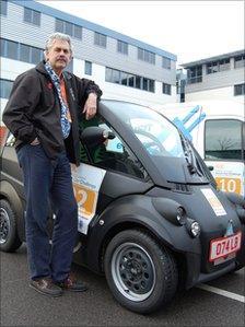 Professor Gordon Murray with his T.25 three-seater mini-car