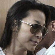 Michelle Yeoh at Rangoon airport, 7 December 2010
