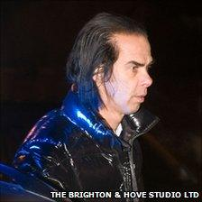 Nick Cave at the scene of the crash