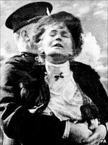 Emmeline Pankhurst being arrested during a Suffragettes protest