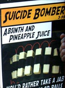 Part of a poster for cocktails depicting a drink called 'Suicide Bomber' in Swansea