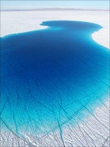 A melt lake on the ice sheet