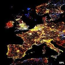 Composite satellite image of light pollution in Europe. Lights are colour-coded: red lights appeared during that period; orange and yellow areas increased in brightness; grey areas are unchanged; pale blue and dark blue areas decreased in brightness