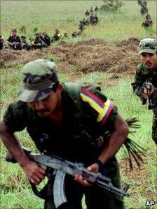 Farc rebels training in 2001