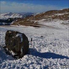 Avalanche debris on Ben Nevis in 2009-10 winter. Pic: SAIS