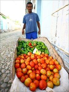 Street vendor displays fruit and vegetables for sale in Trinidad, Cuba