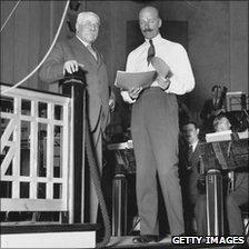 Sir Edward Elgar (l) with Sir Adrian Boult at Abbey Road in 1932