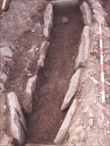 An excavated grave