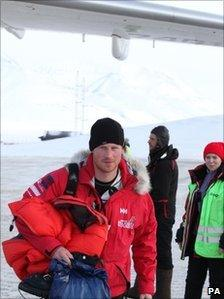 Prince Harry arriving at Longyearbyen Airport on 9 April 2011 on his way back to the UK