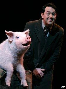 Reece Shearsmith with Betty the pig in Betty Blue Eyes
