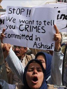 Residents of Camp Ashraf demonstrate in Diyala province, north of Baghdad, 9 April 2011