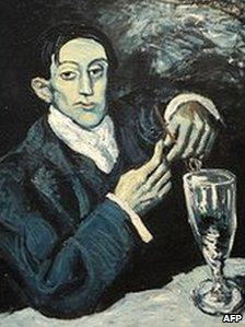 Painting by Pablo Picasso Portrait de Angel Fernandez de Soto, more commonly known as The Absinthe Drinker