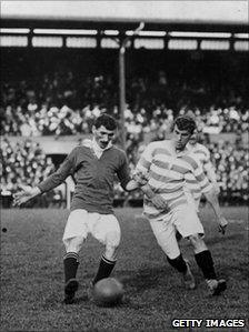 Billy Meredith of Manchester United in action during the first ever FA Charity Shield match (28 August, 1908) against Queens Park Rangers. Following a 1-1 draw, United won 4-0 in the replay
