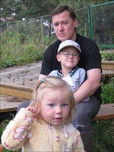 Dmitry Malov with his children
