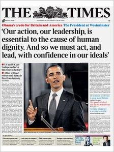 Times front page on 26 May 2011
