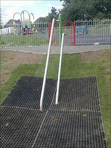 The slide has now been re-erected in the playground