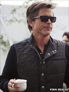 Rob Lowe with a cup of tea, backstage at Hay Photo: Finn Beales