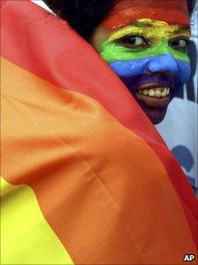 Gay rights activist celebrates ruling legalising homosexual sex in Calcutta, India on 2 July 2009