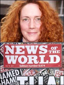 Rebekah Brooks (top) and the last edition of the News of the World (bottom)