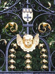 A detail of the ornate gates at St Peter's