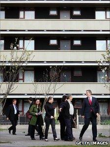 Tony Blair visits a housing estate in Kings Cross, London