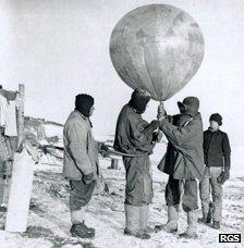 George Simpson with weather balloon and other instruments - photo from Royal Geographical Society collection