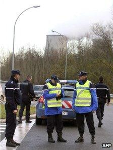 Police at the entrance to the Nogent-sur-Seine nuclear plant