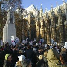 Russian anti-government demonstrators outside the Houses of Parliament in central London