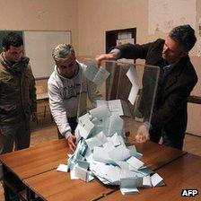 Counting ballots in Kosovska Mitrovica, northern Kosovo, 15 Feb 12