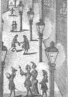 Street-lighting in Leipzig in 1702