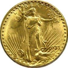 Obverse of a United States, 20 dollars, 1933, courtesy of the National Numismatic Collection, Smithsonian Institution