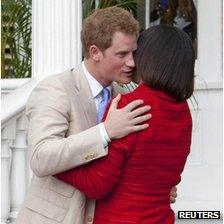Prince Harry and Jamaican Prime Minister Portia Simpson Miller