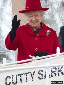 The Queen on board Cutty Sark