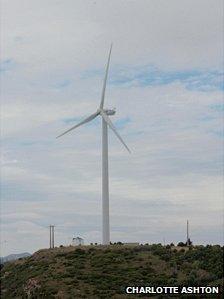 Wind turbine on outskirts of Lisbon