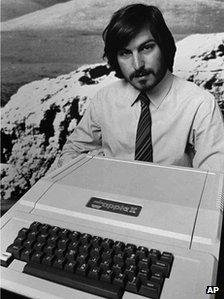Steve Jobs with Apple II computer