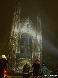 Light show at King's College, Cambridge