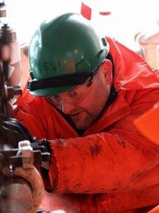 Man at work on gas platform