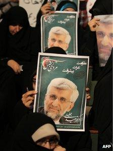 Supporters of Saeed Jalili at a campaign rally at Tehran University (3 June 2013)