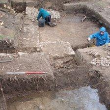 Excavation at the site of the Roman villa in Teston, Kent