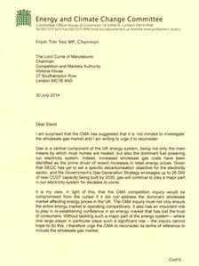 Tim Yeo's letter to the CMA