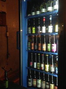 Craft beer in a fridge