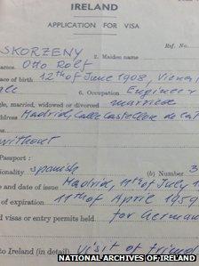 Skorzeny's visa application