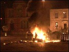 The explosion outside the courthouse in Newry