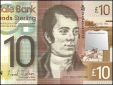 Robert Burns on £10 banknote