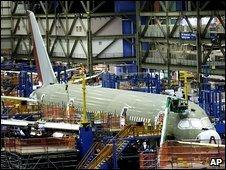 The Boeing 787 line at Boeing's assembly plant in Everett