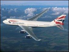 British Airways plane in flight