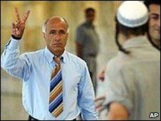 Mordechai Vanunu reacts as a right-wing activist verbally abuses him at Israel's Supreme Court. File photo